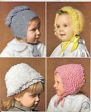 Vintage Patons 9831 Baby, Child, Loopy Hats, Bonnets Knitting Pattern DK Repro