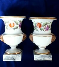 More details for pair of campala urns with floral decorations and marble effect bases, 20cm tall