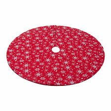 Red Christmas Tree Skirt Plush Holiday Ornaments White Pattern Double Layers