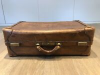 Original Vintage Abercrombie and Fitch leather suitcase luggage, circa 1920's