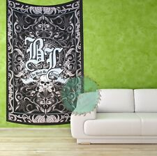 Black Leaf Skull Tapestry Cannabis Wall Hanging Marijuana Bohemian Throw Weed