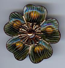 MATISSE RENOIR VINTAGE COPPER & GREEN ENAMEL FLOWER PIN BROOCH