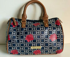 NEW! TOMMY HILFIGER BLACK BLUE RED FLORAL BOWLER SATCHEL PURSE HANDBAG $85 SALE