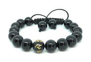 Shamballa Bracelet Onyx Gemstone Om Mani Padme Hum Prayer Mantra Beads UK Made