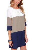 Plus Size Women Patchwork Half Sleeve T-shirt Casual Loose Blouse Shirt Dress