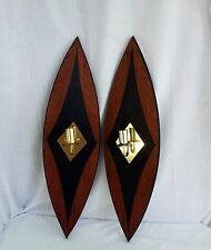 Mid century modern wooden wall sconces plaques with candle holders