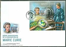 CENTRAL AFRICA 40th MEMORIAL ANNIVERSARY OF MARIE CURIE SOUVENIR SHEET FDC