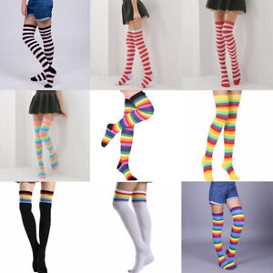 Stockings Striped High Socks Over The Knee Girls Sheer Thigh Womens Plus Size