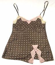 Self Esteem Pink & Brown  Polka Dot Lace Cami Top Blouse Shirt SZ Small RN#96741
