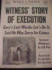 VINTAGE NEWSPAPER HEADLINE ~MURDER SERIAL KILLER GARY GILMORE DIES GUN EXECUTION