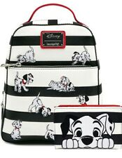 Loungefly Disney 101 Dalmatians Striped Mini Backpack & Matching Wallet NWT