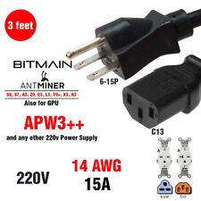 3' AC Power Cable  BITMAIN APW3++ Antminer S9 L3+ D3 - HEAVY DUTY 15a 220v PSU