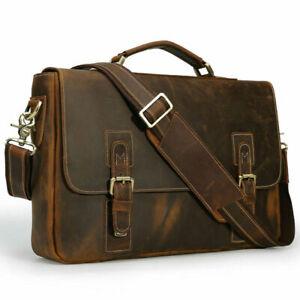Vintage Leather Handbag Briefcase Messenger Bag Men Leather Shoulder Bag School