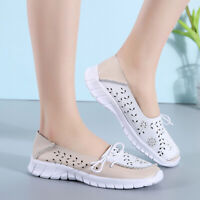 Women's Leather Loafers Casual Shoes Moccasins Wild Breathable Flat Indoor