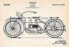 1919 Ziska Harley Motorcycle Art Gifts Patent Prints Vintage Drawing