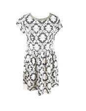 Xhilaration Sz L Black White Dress Damask Knit Stretch Fit Flare Embellished