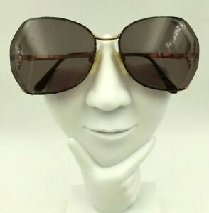 Vintage Marcolin 7029 Brown Gold Oversized Butterfly Sunglasses FRAMES ONLY