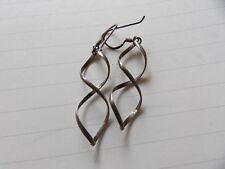 Long Drop Earrings Xwl324-3 Vintage Sterling Silver Double Twist