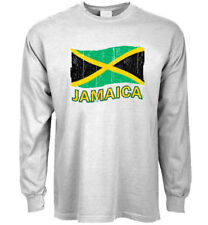 Long sleeve t-shirt Jamaica Jamaican flag decal tee gear men's clothing