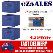 3x  Blue Collapsible Storage Toy Box Cube Bin Organisers For Kids Bookshelf