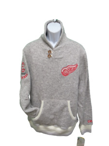 New Detroit Red Wings Mens Sizes M-2XL CCM Sweater Jacket $90