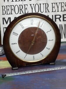 WORKING VINTAGE 1950s SMITHS ENFIELD CHIMING MANTLE CLOCK WITH ORIGINAL KEY