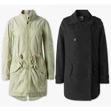 Damen Trenchcoat Jacke Velours-Qualität Schwarz Herbst Frühling modern Khaki