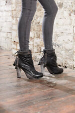 new womens DIESEL HEELED LEATHER ANKLE BOOTS in black / tan all sizes RRP £220