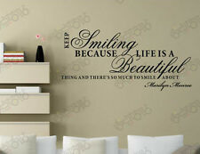 Keep smiling,life beautiful stickers wall Quote Removable Art Vinyl Decor decal