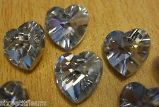 Sparkly faceted crystal heart cut glass pendants x10 CLEAR SILVER 15mm B56 UK