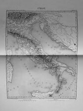 1858.THIERS.Duvotenay Mappa TOPOGRAFICA=ITALIA-SICILIA-SARDEGNA ROM=Acciaio.ETNA