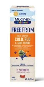 Mucinex Children's Daytime FreeFrom Cold Flu Sore Throat Elderberry exp 5/2022