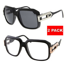 2 Pair Large Sunglasses Clear Lens Square Retro Glasses Gold Metal Accents dmc