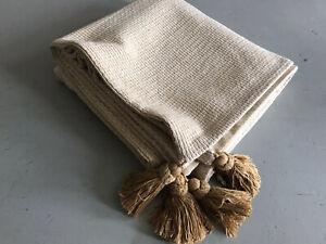 Gold And Cream Gold Tassled Bedthrow/Sofa Throw Heavy Cotton 136x136cm + Tassles