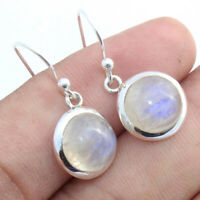 Rainbow Moonstone Gemstone 925 Sterling Silver Earrings Round Jewelry S 1""