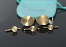 $7500 Vintage Men Tiffany & Co 14K Yellow Gold Diamond Oval Shirt Stud Cufflinks