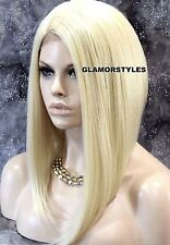 "14"" Straight Bob Bleach Blonde Full Lace Front Wig Heat Ok Hair Part Hair Piece"
