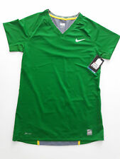NWT Nike Pro Sz L - Stay cool short sleeve top - Green and Grey mesh with gold
