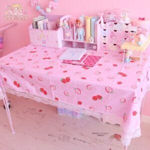 Unicorn Pink Strawberry Kawaii Wall Decor fo Laptop Bedroom Heart Tablecloth
