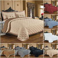 Quilted Diamond Bedspread Throw Comforter Bedding Set Single Double King Size