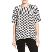VINCE CAMUTO WHITE BLACK HIGH LOW POLKA DOT BLOUSE TUNIC TOP EUC SZ S 4 6