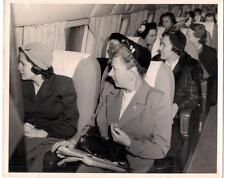 Smart Dressed Fashion Hat Women Seated In Airplane Looking Out Window 8x10 Photo
