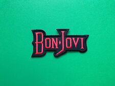 HEAVY METAL PUNK ROCK MUSIC SEW ON / IRON ON PATCH:- BON JOVI (a) RED & BLACK