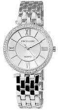 Excellanc 1509 elegante Damen Armbanduhr silberfarben Strass Uhr Damenuhr