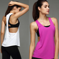 Women Backless Gym Sport Vest Workout Loose Tank Tops Fitness Yoga Summer Blouse