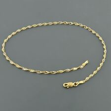 14K ELEGANT 2.0MM TWO TONE TWISTED DORCIA CHAIN 10 INCH ANKLET FREE SHIPPING