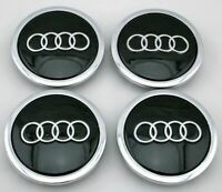 "NEW  SET 4 69mm Black Center Caps 2.70"" Hub Center Wheel Cap for Audi 4B0601170A"
