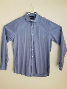 Brooksfield LUXE Slim Fit Long Sleeve Blue Shirt - Size 42