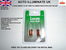 Lucas Car 501A T10 W5W Amber Indicator Signal Turn Wedge Light Bulbs Lamp 12v 5w