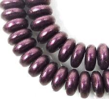 50 Czech Glass Rondelle Beads - Metallic Suede - Pink 6x2mm